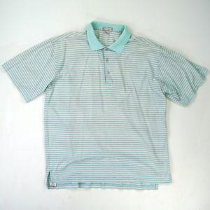 Peter Millar Mens Polo Golf Shirt L Striped Cotton